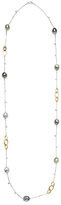 18K Two-Tone Gold, Tahitian Pearl & 0.32 Total Ct. Diamond Long Necklace