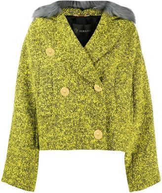 Versace Faux Fur Trim Tweed Jacket
