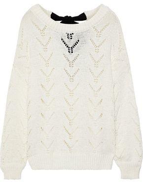 Charli Tea Tie-back Pointelle-knit Cotton-blend Sweater