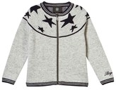 Bogner Grey Zipped Cardigan with Navy Stars