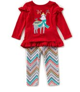 Rare Editions Baby Girls 12-24 Months Christmas Reindeer Top & Patterned Leggings Set