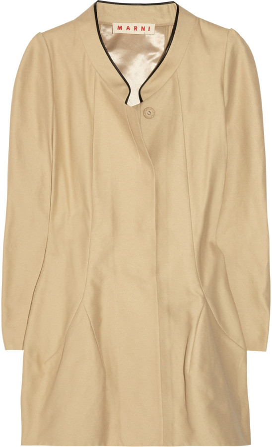 Marni Leather-trimmed cotton and silk-blend coat