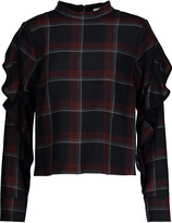 Suno Ruffled plaid wool and silk-blend top