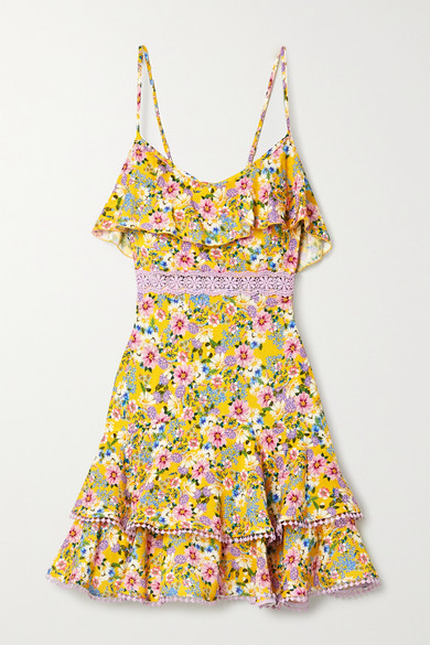 Charo Ruiz Ibiza Milly Crochet-trimmed Ruffled Floral-print Voile Mini Dress - Yellow