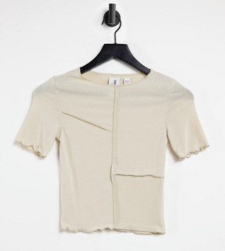 Collusion crop fitted T-shirt with seam detail in oatmeal