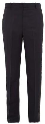 Alexander McQueen Side-stripe Wool-blend Tapered Trousers - Navy