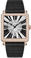 Franck Muller Master Square Watch with Diamonds & Black Alligator Strap