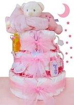 Cashmere Bunny LLC Sleepy Bear 3 Tier Diaper Cake - Girl by Cashmere Bunny