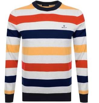 Gant Multi Striped Knit Jumper Orange