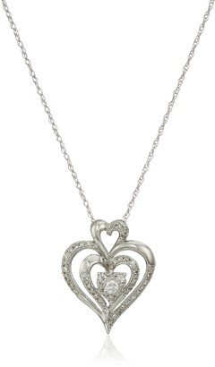 """Amazon Collection 10k White Gold Diamond Heart Pendant Necklace (1/4 cttw I-J Color I2-I3 Clarity) 18"""""""