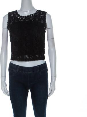 Ungaro Ombre De La Nuit Vintage Black Lace Sleeveless Cropped Blouse M