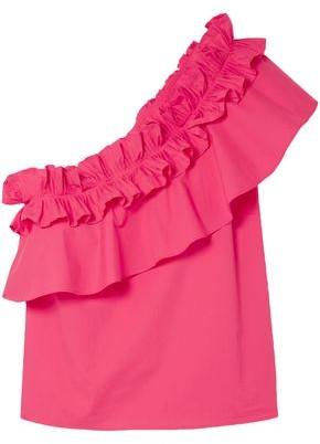 Saloni Esme One-shoulder Ruffled Cotton-blend Poplin Top