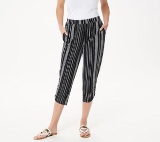Susan Graver Regular Liquid Knit Crop Pants with Ruching Detail
