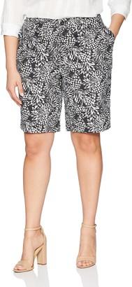 Caribbean Joe Women's Plus Size Printed High Density Poplin Skimmer with Slash Pockets