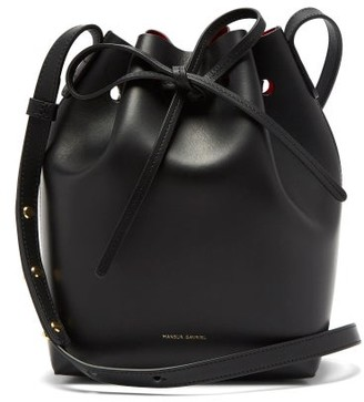 Mansur Gavriel Red-lined Mini Leather Bucket Bag - Black Multi