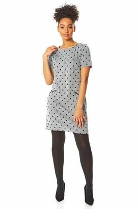 Roman Originals Women Polka Dot Checked Smart Shift Dress - Ladies Daywear Everyday Smart Workwear Office Business Interview Round Neckline Short Sleeve Knee Length Dress - Grey - Size 18