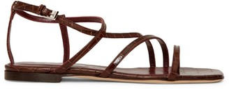 STAUD Gitane Croc-Embossed Leather Sandals