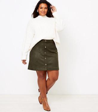 LOFT Plus Faux Suede Snap Shift Skirt