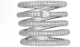 Gucci White gold and diamond five band Ouroboros ring