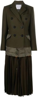 Sacai Pleated-Hem Coat