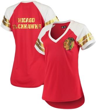 G Iii Women's G-III 4Her by Carl Banks Red/White Chicago Blackhawks All Star V-Neck T-Shirt