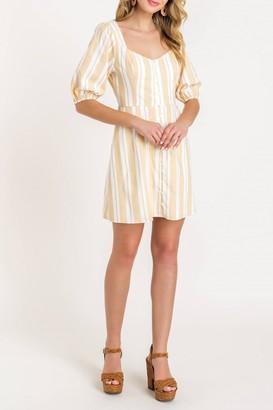 Lush Puff Sleeve Stripe Linen Dress
