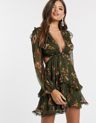ASOS DESIGN long sleeve mini dress in floral print with cluster embellishment detail and circle trims