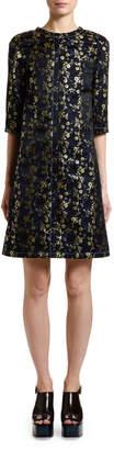 Marni 3/4-Sleeve Brocade Shift Dress