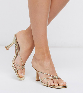 Co Wren Wide Fit strappy mid heel sandals in gold