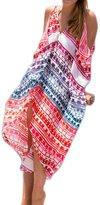 Laryana Boho Swimsuit Cover Up V-Neck Open Shoulder Beach Dress