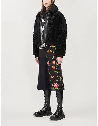 McQ Boxy-fit cropped shearling jacket