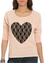 Wet Seal WetSeal Lace Heart Dolman Sweater Orange