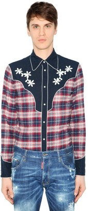 DSQUARED2 BRUSHED COTTON FLANNEL WESTERN SHIRT