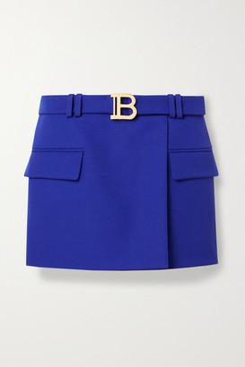 Balmain Belted Wool-crepe Mini Skirt - Royal blue