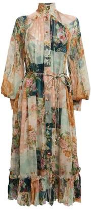 Zimmermann Silk Patchwork Midi Dress