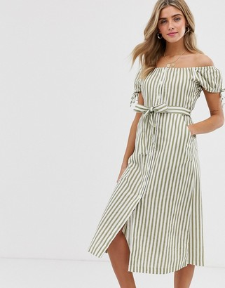 Miss Selfridge off the shoulder midi dress with button through detail in green stripe-Multi