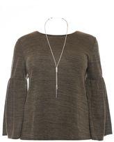 Quiz Curve Khaki Light Knit Frill Sleeve Necklace Top