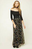 Forever 21 FOREVER 21+ Floral Embroidery Maxi Skirt