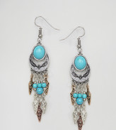Reclaimed Vintage Inspired Turquoise Stone Mixed Metal Drop Earrings