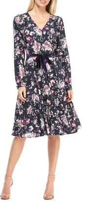 Gal Meets Glam Rosalind Floral Long Sleeve Fit & Flare Dress