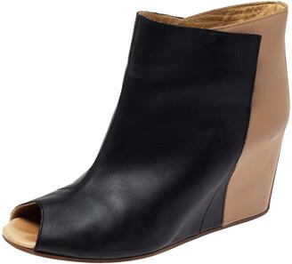 Maison Margiela Black/Beige Leather Peep Toe Ankle Boots Size 39