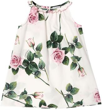 Dolce & Gabbana Rose Print Poplin Dress