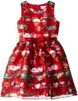 Us Angels Sleeveless Organza Striped Floral Dress with Full Skirt (Big Kids)