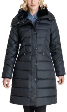 London Fog Faux-Fur Collar Hooded Puffer Coat