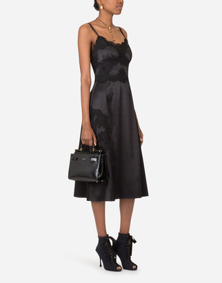 Dolce & Gabbana Satin And Lace Calf-Length Slip Dress