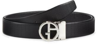 Giorgio Armani Logo Buckle Leather Belt