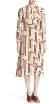 Rachel Comey Print Silk Crêpe de Chine Keyhole Neck Midi Dress