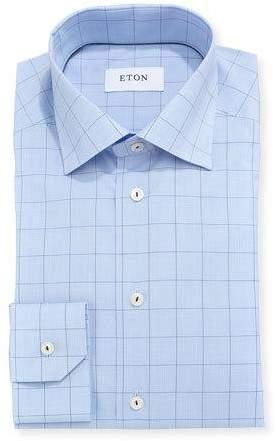 Eton Windowpane Plaid Dress Shirt