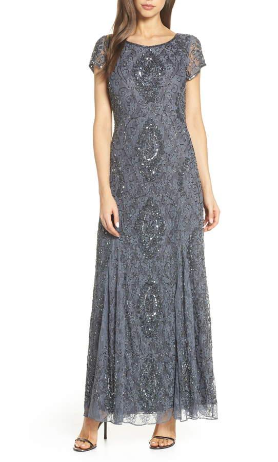 Pisarro Nights Cap Sleeve Beaded Lace Evening Dress