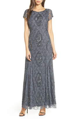 Pisarro Nights Cap Sleeve Beaded Lace Evening Dress